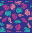 abstract color monstera seamless pattern blue vector image vector image