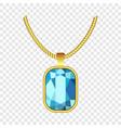 aquamarine jewelry icon realistic style vector image