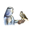 arabian man with a falcon from a splash vector image vector image