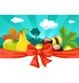 Autumn still life with fruit vegetables tree and vector image vector image