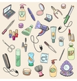 Beauty and cosmetic hand drawn items vector image vector image