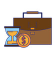 briefcase hourglass and coins vector image vector image