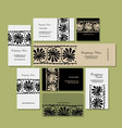 Business cards design ethnic floral ornament