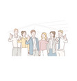 business concept successful teamwork group of vector image