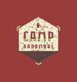 camping hexagonal emblem with rough texture vector image vector image