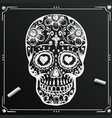 chalkboard day of the dead skull sketch draw vector image vector image