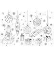 Christmas set Hand drawn gifts and xmas balls vector image