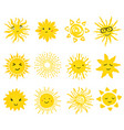 cute set of sun icons vector image vector image