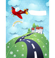 fantasy landscape with airplane and blank banner vector image vector image