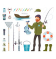 fisherman elements set vector image