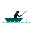 Fisherman in a boat icon vector image vector image
