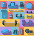flat design icons on fitness gym equipment vector image