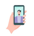 flat guy taking self portrait human hand vector image vector image