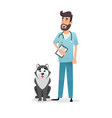 friendly cartoon veterinarian character happy vet vector image