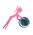 girl ball gym fitness sport pink silhouette vector image vector image