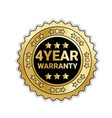 golden medal with 4 year warranty sign isolated vector image vector image