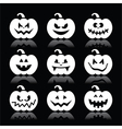Halloween pumpkin icons set on black vector image