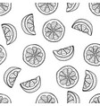 hand drawing lemon slices in doodle style on white vector image