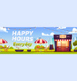 happy hours in outdoor cafe with coffee and snacks vector image