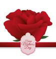 happy mothers day beautiful red rose card vector image vector image