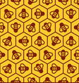 honeycomb and honey bees seamless pattern vector image vector image