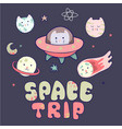japanese kawaii cat travels in space and a set of vector image vector image