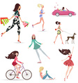 Lifestyle of fashion pretty girl walking with vector image vector image