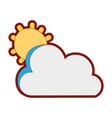 line color sun and cloud natural summer weather vector image vector image