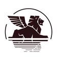 lion silhouette insignia vector image