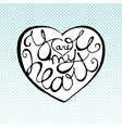 love lettering inside heart shape with halftone vector image vector image