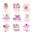 mardi gras logo set original design hand drawn vector image