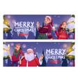 merry christmas cartoon banner santa claus vector image vector image
