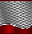 metal perforated background with red chrome curve vector image vector image