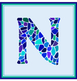 N - letter - Green Watercolor mosaic vector image