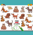 one a kind game for kids with comic dogs vector image vector image