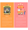 pizza and popcorn collection vector image