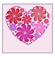 postcard with a heart of paper flowers for your vector image vector image