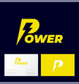 power logo letters lightning energy industry vector image