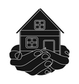 Property donation icon in black style isolated on vector image