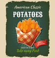 retro fast food fried potatoes poster vector image