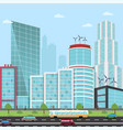 road in a modern city view skyscraper business vector image