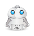 Robot with HTML sign Technology concept vector image vector image