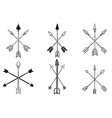set ancient crossed arrows native vector image vector image