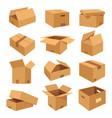 set isometric realistic boxes flat icons vector image