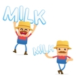 set of funny cartoon farmer vector image