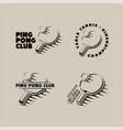 set of ping pong club logos labels and badges vector image vector image