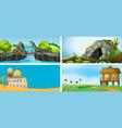 set outdoor landscape vector image