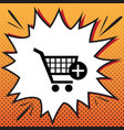 shopping cart with add mark sign comics