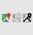social media icon set for google map in different vector image vector image