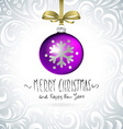 template with single shiny violet christmas ball vector image